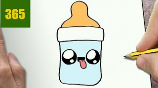 HOW TO DRAW A FEEDING BOTTLE CUTE, Easy step by step drawing lessons for kids