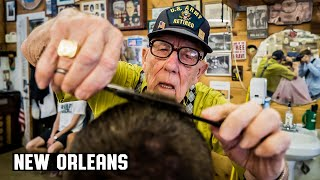 """Haircut by 94 year old World War 2 Veteran """"Bud"""" in New Orleans"""