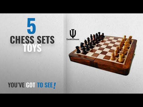 "Chess Sets Toys: TheWilSwank Premium Magnetic 12"" Inch Chess Set Game with Fine Wood Classic"