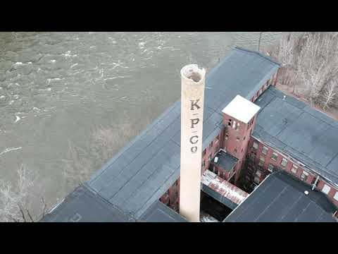Aerial footage of former paper mills in Turners Falls