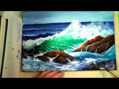 "Part 2: How to Paint a ""Translucent Ocean Wave on the Rocks""- Ginger Cook's Master Class Painting"