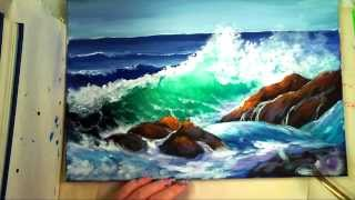 """Part 2: How to Paint a """"Translucent Ocean Wave on the Rocks""""- Ginger Cook"""