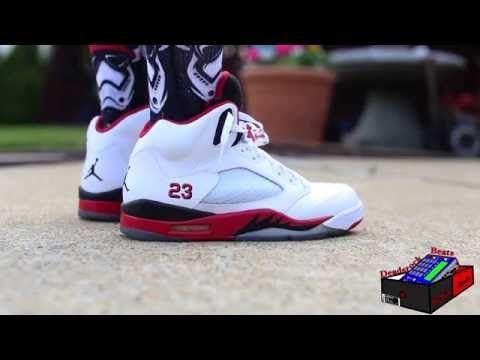 jordan 5 fire red on feet