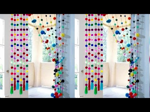 DIY Pom Pom Door Hanging | How to make Door Hanging Toran |