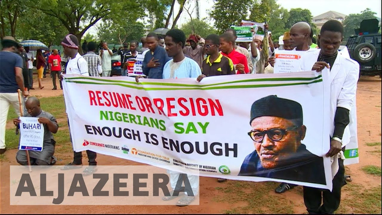 Nigeria protesters press for President Buhari's resignation over absence