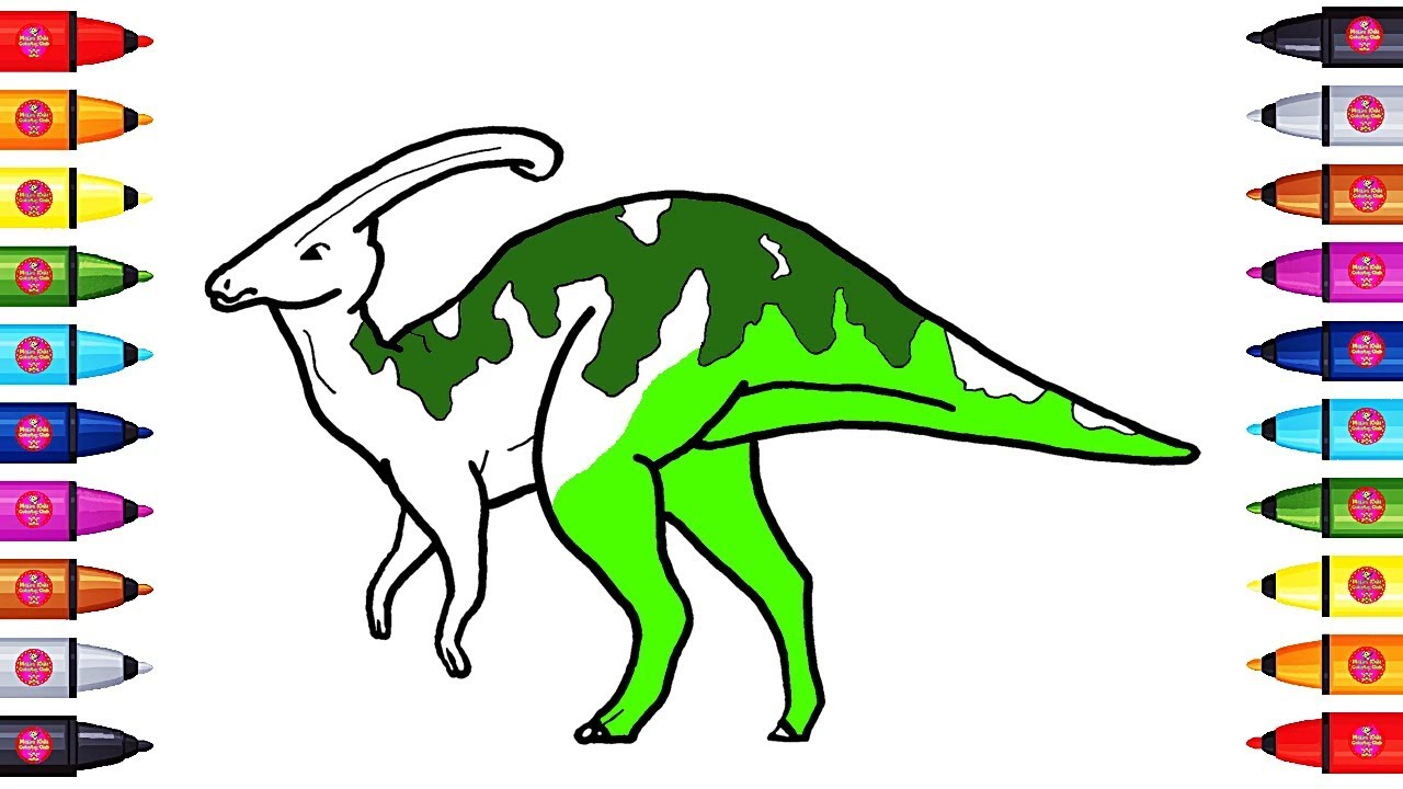drawing and coloring a parasaurolophus dinosaurs coloring page with colored markers