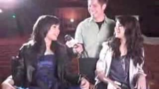 Demi Lovato and Selena Gomez on the set of