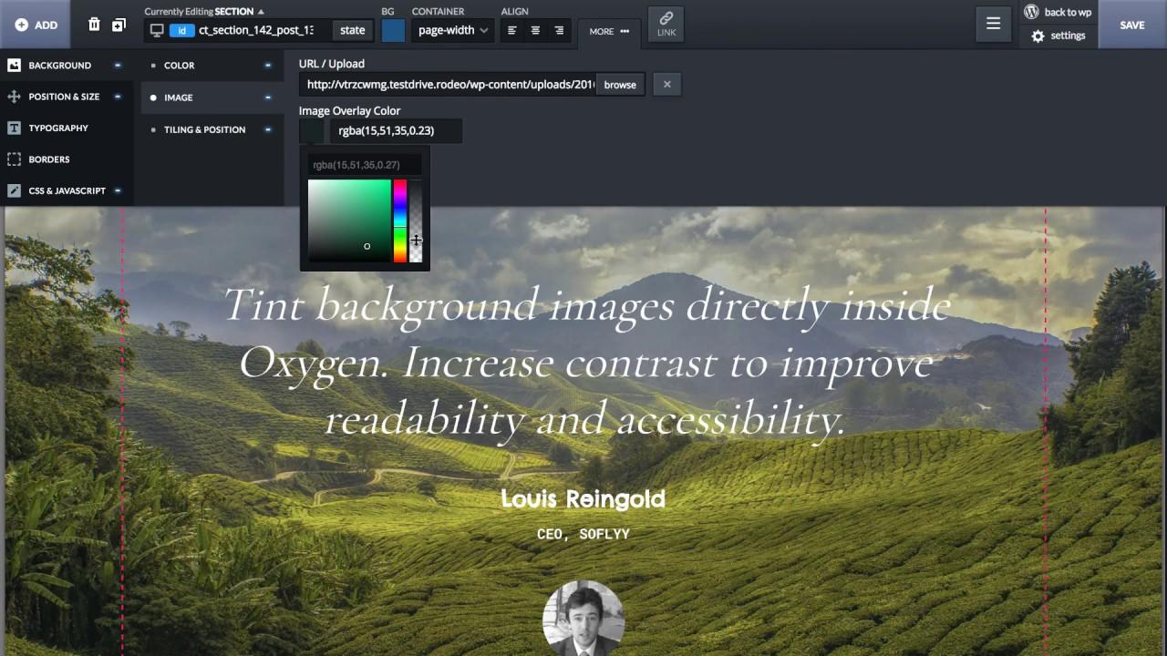 Oxygen - Visual Website Design, Inside WordPress