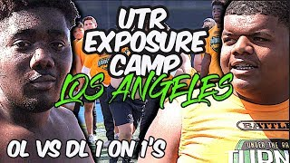 🔥🔥 The BIG DOGS Went Crazy !! UTR Exposure Camp Los Angeles - High School - OL v DL 2019