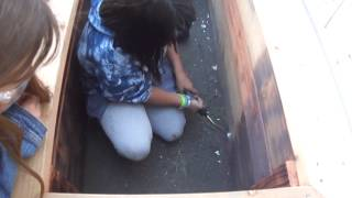 Watch Students Burn The Inside Of A Planting Box To Prevent Rotting!