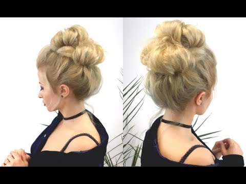 SUPER EASY HAIRSTYLE 3-MINUTE EASY BUN UPDO   Awesome Hairstyles - YouTube