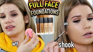 FULL FACE USING ONLY FOUNDATIONS Makeup Challenge! (10+ SHADES!!)