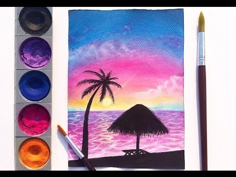 Easy Watercolor Sunset Painting