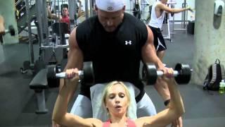 Female Fitness Model Training For Chest, Biceps, Triceps
