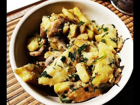 Картошка с грибами в казане .
