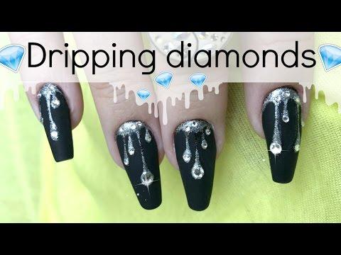 Dripping rhinestone nail design | Kylie Jenner inspired nailart tutorial