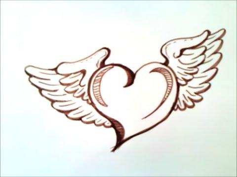 como dibujar un corazon con alas paso a paso | como dibujar un ...
