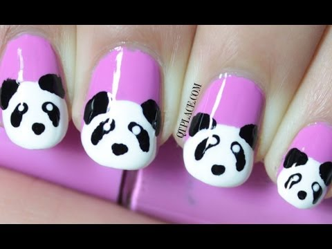 Panda nail art - Panda Nail Art - YouTube