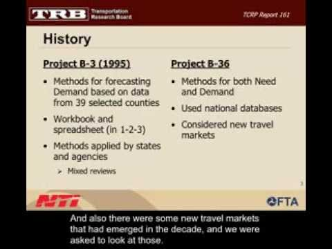 Methods for Forecasting Demand and Quantifying Need for Rural Passenger Transportation, Part 1
