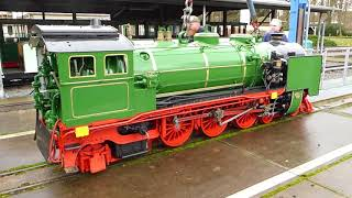 Dresdner Parkbahn 381mm Spur - Ankunft der (Grünen) Dampflok -LISA- aus Meiningen