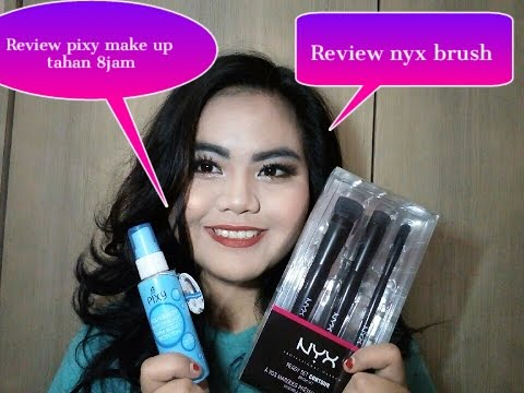 tutorial-make-up-red-lipstik-for-acne-skin- -review-nyx-brush-&-pixy-makeup-tahan-8-jam