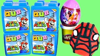 New MARIO Surprize Cubes Play Doh Spiderman + Disney Princess Surprise Eggs by DCTC