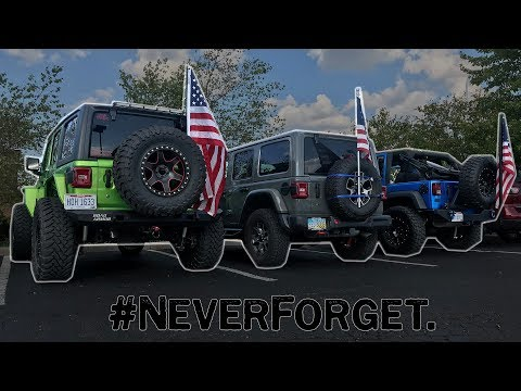 Taking Part In A 9/11 Memorial Event, 120+ Jeeps With 120+ American Flags