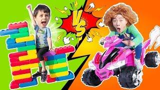 블록으로 거대 집, 자동차 만들어요!! Ride on Toy Sports Car & play with colored toy blocks like BoramTube