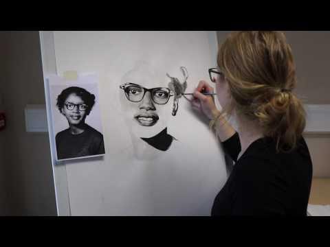 Claudette Colvin Time Lapse Painted Portrait