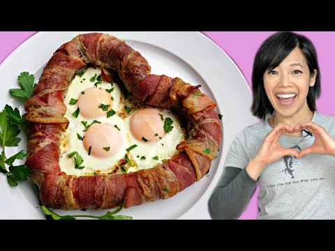 DIY LOVE SAUSAGE - bacon-wrapped-heart-shaped-fried-egg-filled sausages - Valentine's Day Recipe Mp3