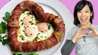 DIY LOVE SAUSAGE - bacon-wrapped-heart-shaped-fried-egg-filled sausages - Valentine's Day Recipe