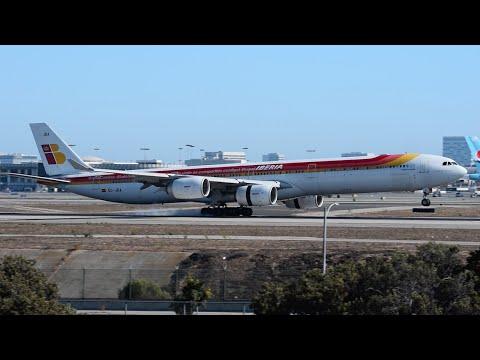 """Iberia """"Twitter Jet"""" Airbus A340-600 [EC-JBA] Landing at LAX."""
