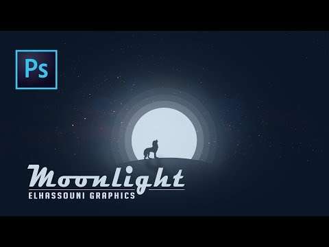 Photoshop tutorial Animal Silhouette Moonlight vector Photoshop 2017