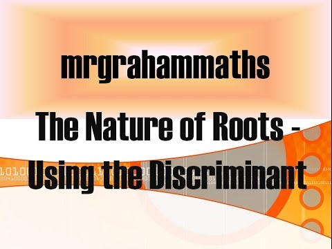national 5 maths the nature of roots using the discriminant youtube. Black Bedroom Furniture Sets. Home Design Ideas