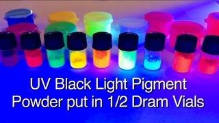 10 Color Set UV Black Light Pigment Powder GloMania