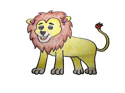 วาดรูปสิงโต สอนวาดรูปการ์ตูนน่ารักง่ายๆ สอนวาดรูปการ์ตูนระบายสี How To Draw Lion Cartoon