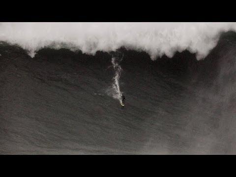 Brazilian surfer rides 'world's biggest' wave in Portugal