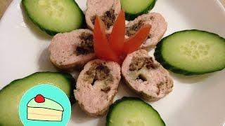 вкусная закуска из куриного фарша с грибами и моцареллой