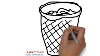 How to draw a wastebasket step by step for kids