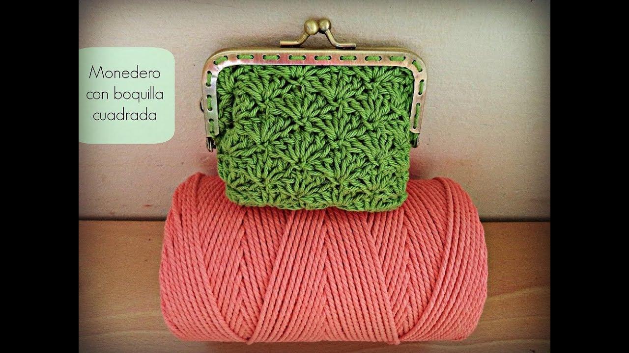 Monedero de ganchillo con boquilla cuadrada - Crochet purse ...