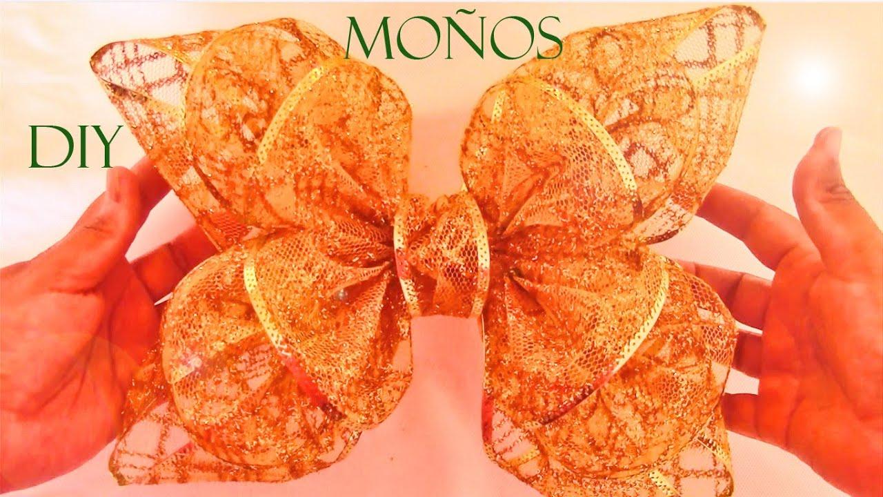 Diy mo os flores y lazos de navidad en cintas ribbons - Lazos para arbol de navidad ...