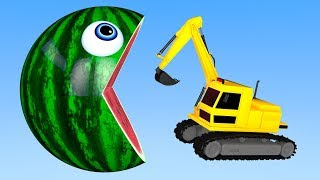 Learn Colors with PACMAN and Farm Excavator WaterMelon Street Vehicle for Children