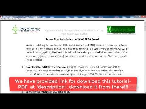 Tensorflow Installation on Pynq - YouTube