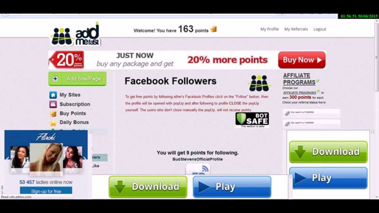 How to Get Unlimited Facebook Fan Page LIKES For Free Addmefast