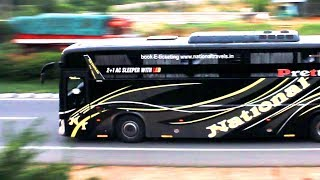 Download Video 40 High Speed Volvo Scania Mercedes Benz Buses in Bangalore - SRS, VRL, National, Jabbar MP3 3GP MP4