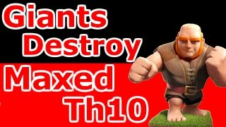 Maxed Th10 War Base Destroyed By Giants And Earthquake Spells - Clash Of Clans