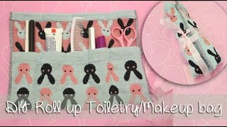 Roll Up Makeup /Toiletry Bag - Summer Travel Essential | Sunny DIY