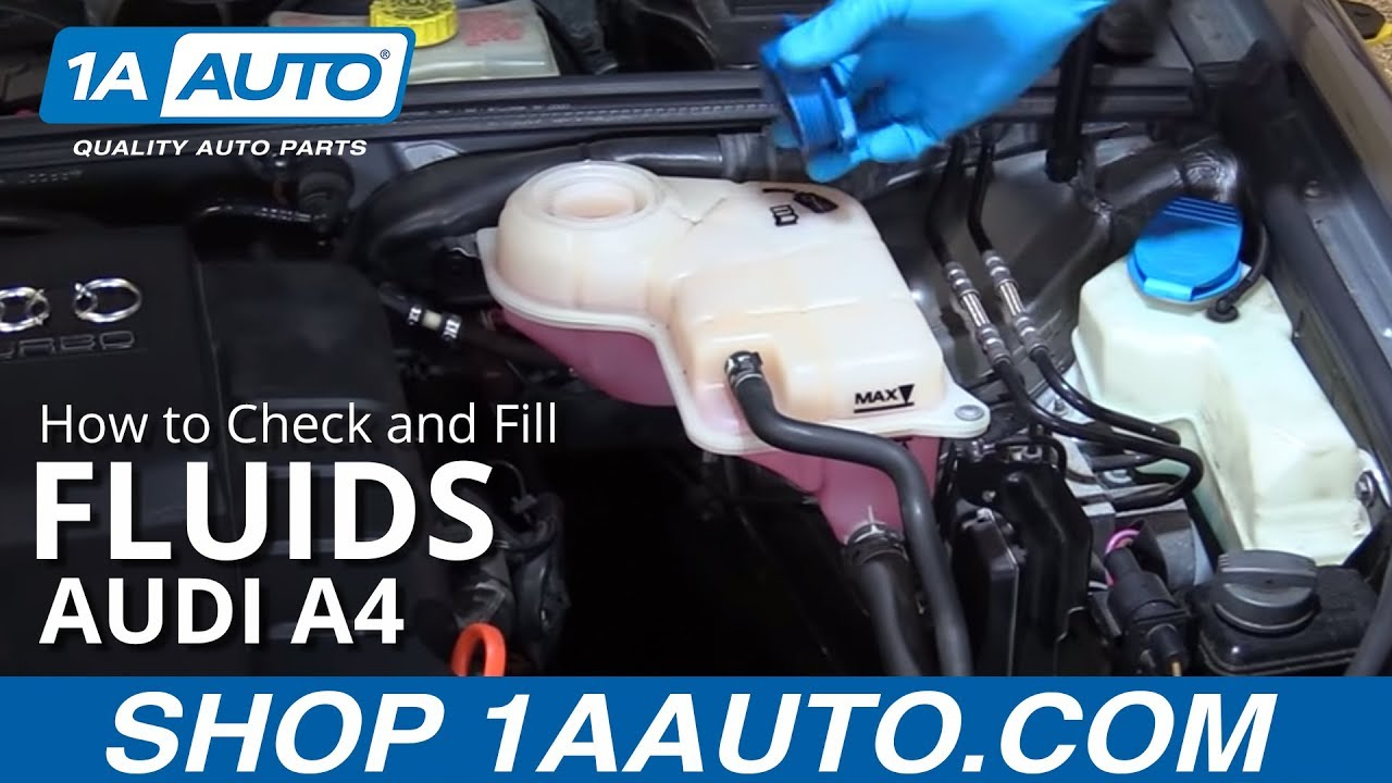 how to check and fill fluids 2004 08 audi a4 youtube rh youtube com 2002 Audi A6 Quattro Manual 2002 Audi Quattro Owner's Manual