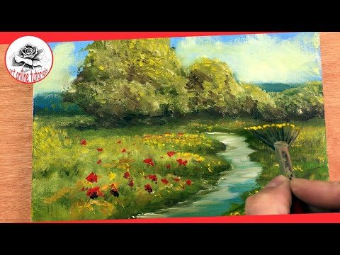 How to Paint a Summer Easy Landscape with Oil Painting Step by Step