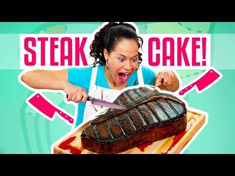 How To Make A Giant Red Velvet STEAK CAKE for Father's Day | Yolanda Gampp | How To Cake It